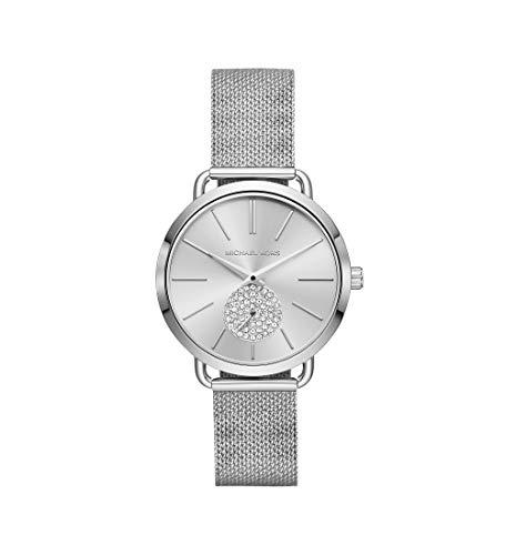 Michael Kors Women's Portia Analog-Quartz Watch with Stainless-Steel Strap, Silver, 16 (Model: MK3843)