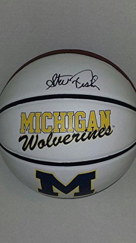 1989 Michigan Wolverines Basketball (Steve Fisher Signed Michigan Wolverines Logo Basketball Fab 5 1989 Champs - Autographed College Basketballs)