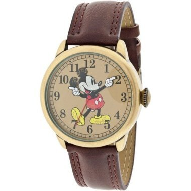 Disney MCK959 Mickey Mouse Unisex Gold Tone & Leather Classic Moving Hands Watch (Mouse Mickey Gold Tone)