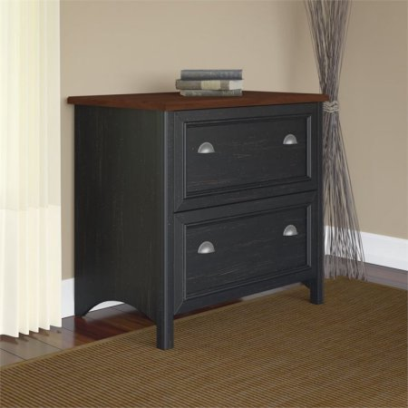 Lateral File Cabinet, Antique Black and Cherry, File Drawers Hold Letter, Legal or A4-Size Files, Drawers Open on Full-Extension Ball Bearing Slides