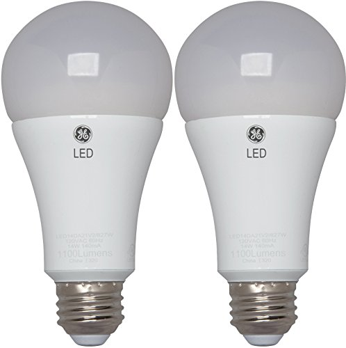 GE Lighting 30915 LED 17-Watt (100-watt replacement) 1600-Lumen A21 Light Bulb with Medium Base, 2-Pack