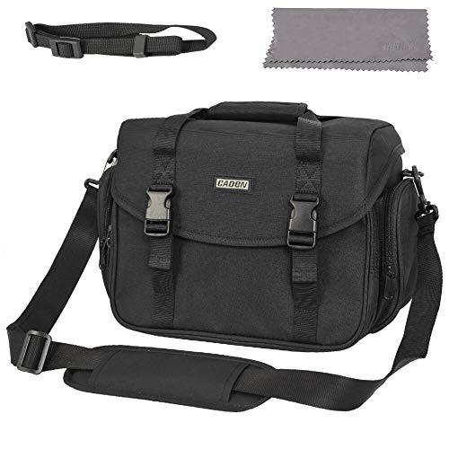 CADeN Large Camera Bag Case Shoulder Messenger Bag with Tripod Holder Compatible for Nikon, Canon, Sony DSLR SLR Waterproof Black