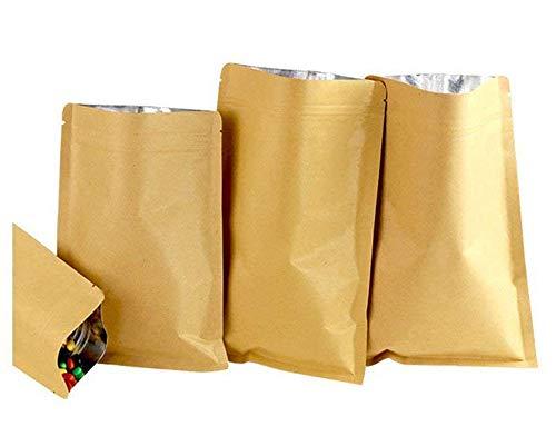 Bolsa plana comida Bolsas de papel kraft con cierre para café, Candy, frutos secos y té, Marrón, 10