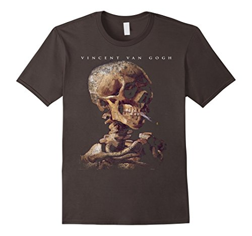 Men's Skull With A Burning Cigarette by Vincent Van Gogh T-Shirt XL...