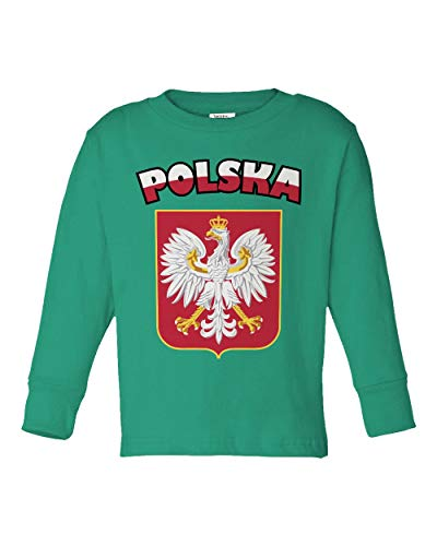 Societee Polska Polish Flag Little Kids Girls Boys Long Sleeve Toddler T-Shirt (Green, 5T)
