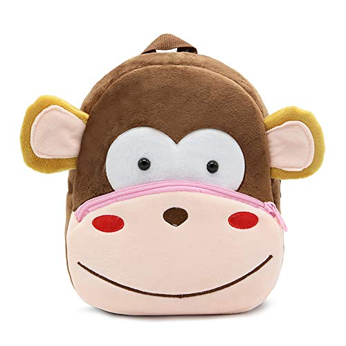 New Toddler's Backpack,Toddler's Mini School Bags Cartoon Cute Animal Plush Backpack for Kids Age 1-4 Years (Monkey)