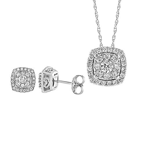 Diamond Pendant Gold White Square - Brilliant Expressions 10K White Gold 1 Cttw Conflict Free Diamond Halo Cushion Cluster Earrings and Adjustable Pendant Necklace Set (I-J Color, I2-I3 Clarity), 16-18 inch