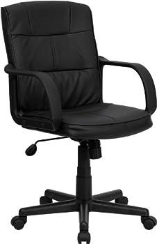 Flash Furniture Mid-Back Black Leather Swivel Task Chair