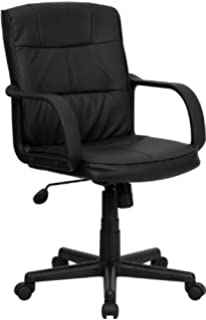 flash furniture mid back office chair black leather. flash furniture mid-back black leather swivel task chair with arms mid back office l