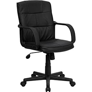Flash Furniture Mid-Back Black Leather Swivel Task Chair with Arms  sc 1 st  Amazon.com & Amazon.com: Flash Furniture Mid-Back Black Leather Swivel Task Chair ...