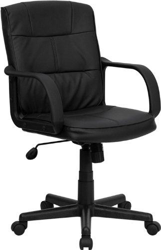 Flash Furniture Mid-Back Black Leather Swivel Task Chair with Arms - Office Desks Furniture
