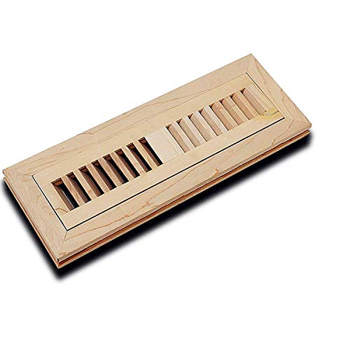 WELLAND 2 X 12 Inch Unfinished Maple Hardwood Flush Mount Floor Vents Louvered Register