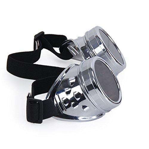 Steampunk Victoriano Gafas Cosplay Cyber Gótico Rave superior Vintage Rústico Novedad Estilo de Premium Punky Plata Goth Calidad Gancho Claro Gafas Con en Marrón Redondo Lentes fqrzCwqd