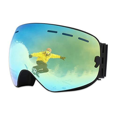 X-TIGER Lunettes de Ski,Snowboard OTG pour Homme/Femmes/Jeunesse/Adulte Anti-buée Jet Ski Masques Lunettes de Ski Anti-UV Protection 400 Lunettes de Protection