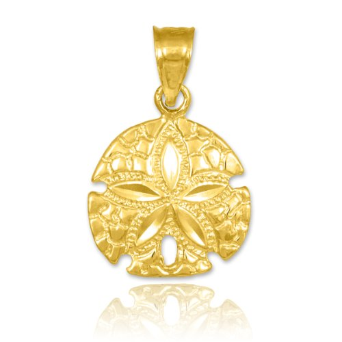 10k Yellow Gold Polished Sea Star Charm Sand Dollar Pendant