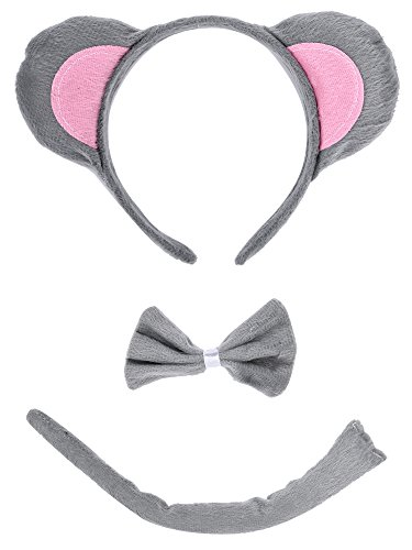 Gray Mouse Ears And Tail Costume (AOZKY Christmas Costumes Mouse Dalmatian Antler Headband Ears and Tail Set)