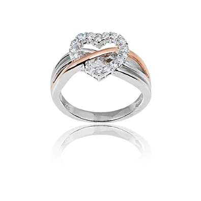 10b4e060d3 Amazon.com: Sterling Silver Rose-Gold CZ Heart Ring: Jewelry