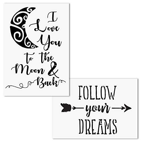 AZDIY Reusable Stencil Set- I Love You to The Moon and Back, Follow Your Dreams Stencils - Word Stencils for Painting on Wood- Quote Painting Stencil - for Home Décor & DIY Projects