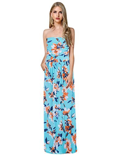 Womens Tropical Print Dress (Liebeye Women Strapless Boho Maxi Dress Beach Floral Print Graceful Party Long Dress (M, Black))