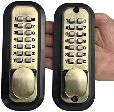 All Weather Double Keypad Mechanical Keyless Door Lock Antique Brass By Code A Key Amazon Com