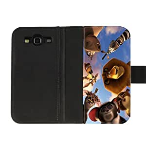 Custom film Madagascar Diary Leather Cover Case for SamSung Galaxy S3 I9300 High fabric cloth, hard plastic shell and leather cover