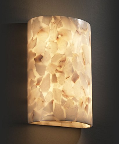 Justice Design Fan - Justice Design ALR-8857, Alabaster Rocks Alabaster Glass Wall Sconce Lighting, 2 Light, 80 Watts