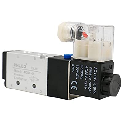 """Baomain Solenoid Valve 4V210-08 AC 110V 2 Position 5 Way PT1/4"""" Internally Piloted Acting Single Type Pneumatic Air Electrical Control from CHLED"""