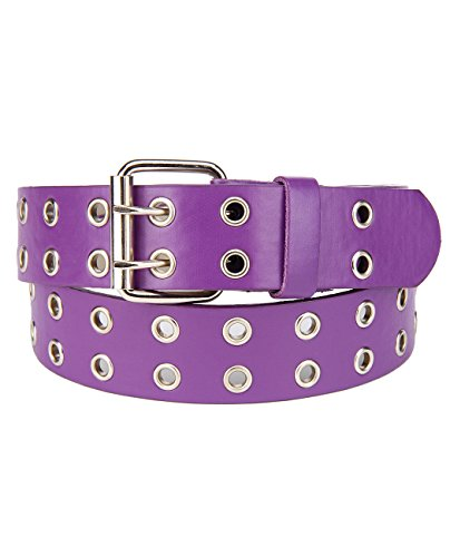 NYFASHION101 Solid Rich Fashion Color Double Grommet Belt, Purple, Small (Womens Grommet)