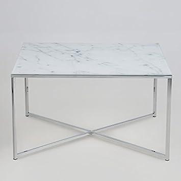 Lounge Zone Couchtisch Wohnzimmertisch MARMORI Tischplatte Glas Mit Marmor Aufdruck Gestell Chrom 13498