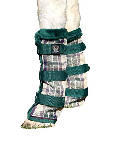 (Kensington Non-Collapsing Protective Fly Boots - Horse Leg Guard - Provides Protection from UV Rays, Insect Bites, Dirt, Debris and Injury - w/Stay-Up Technology (Deluxe Hunter))