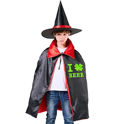 Wodehous Adonis I Shamrock Beer Irish Childrens' Halloween Costumes Wizard Witch Cloak Cape Robe And Hat