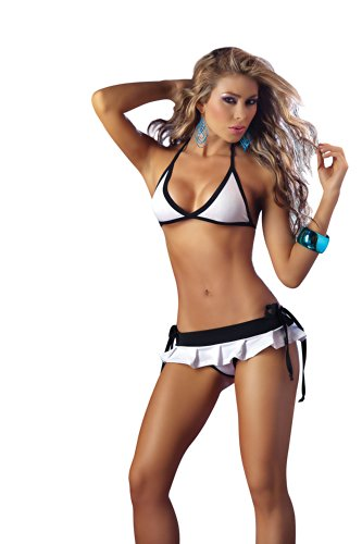 Lycra Pleated Mini Skirt - Mapalé by Espiral Women's Sexy Bra Top Pleated Mini Skirt and Rio Thong, White, Small
