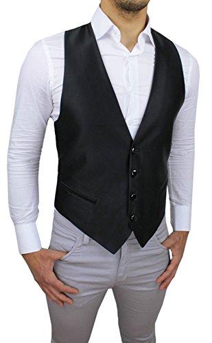 Panciotto Gilet uomo Alessandro Gilles sartoriale nero lucido corpetto smanicato elegante 100% Made in Italy