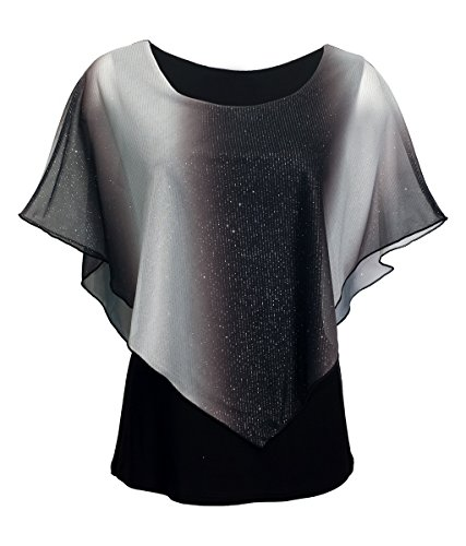 eVogues Plus Size Layered Poncho Top with Glitter Detail Gray - 1X