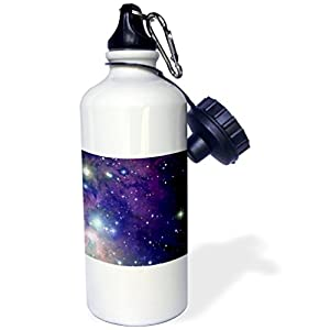 """3dRose wb_112992_1 """"Cool outer space stars and planets dark blue design science fiction sci-fi geek astronomy nerd"""" Sports Water Bottle, 21 oz, White"""