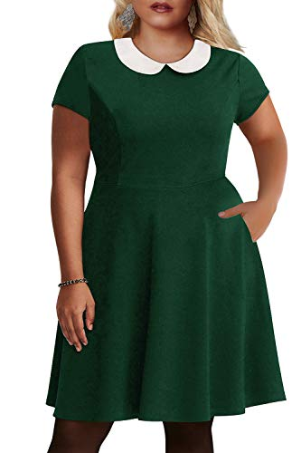 Nemidor Women's Peter Pan Collar Fit and Flare Plus Size Skater Party Dress (Green, 20W)