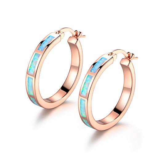 Barzel 18K Rose Gold Plated Created Opal Hoop Earring (Rose Gold)