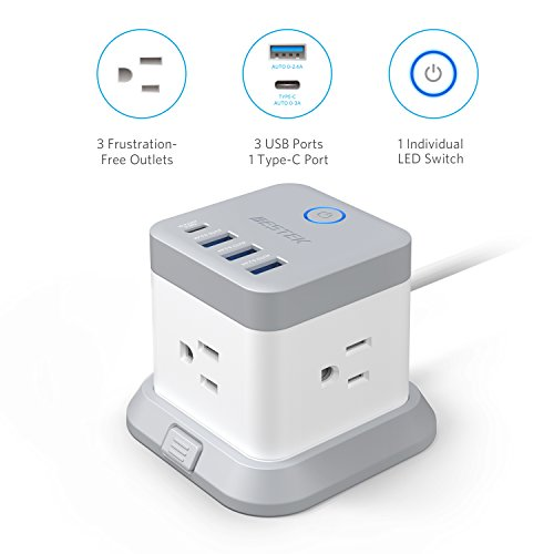 BESTEK Power Strip with USB,Vertical Cube Mountable Power Outlet Extender with 3 Outlets,3 USB &1 Type-C Ports,5-Foot Extension Cord and Detachable Base for Easy Mounting,1875W by BESTEK (Image #1)