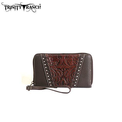 TR12-W003 Montana West Trinity Ranch Tooled Design Wallet-Coffee by Montana West