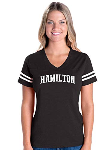 Hamilton City Ontario Canada Traveler Gift Women's Football V-Neck Fine Jersey Tee (SB) Black]()