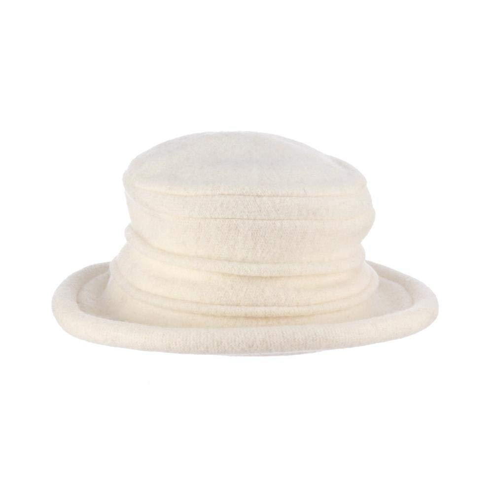 Scala Women's Packable Boiled Wool Cloche, Ivory, One Size