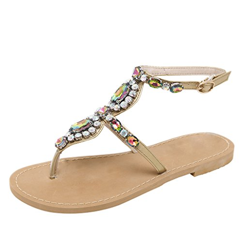 568cece57cc068 Summer Bohemia Flip Flops Women Bling Crystal T-Strap Thong Flat Sandals By  Dear Time