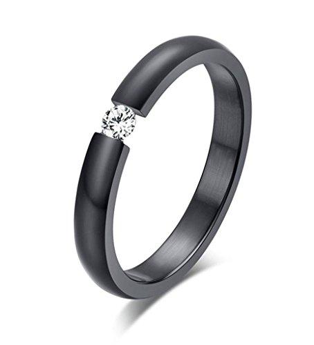 Alimab Jewelery Womens Rings Stainless Steel Round White CZ Black