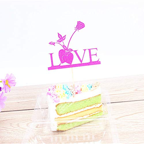 1 piece 1pc Multi Colors Love Cake Flag Topper Heart Flower Flags Love Wedding Birthday Party Cake Baking ()