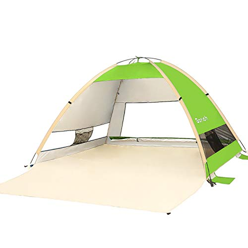 🥇 Gorich Large Pop Up Beach Tent Beach Umbrella Automatic Sun Shelter Cabana Easy Set Up Light Weight Camping Fishing Tents 4 Person Anti-UV Portable Sunshade for Family Adults