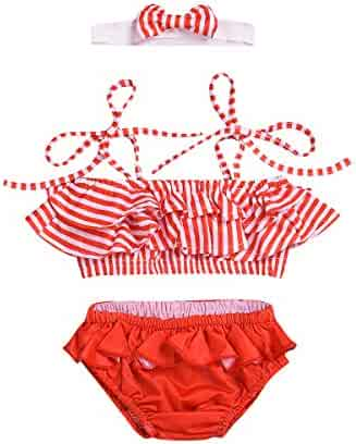 a6880768dd2 Baby Girl Swimsuit Ruffle Red Striped 2 Pieces Bikinis Set Cute Swimwear  with Headhand