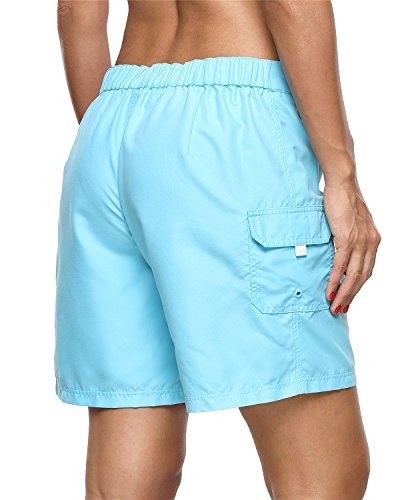 ALove Women's Loose Fit Swim Shorts Quick Drying Boardshorts Swimsuits Bottom Blue Medium by ALove (Image #5)