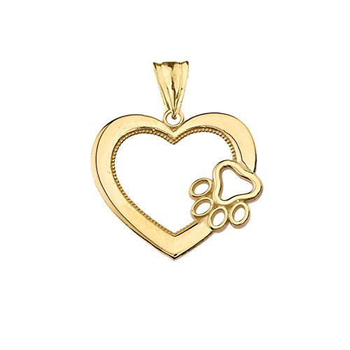 Dazzling 14k Yellow Gold Open Heart Dog Paw Print Charm Pendant