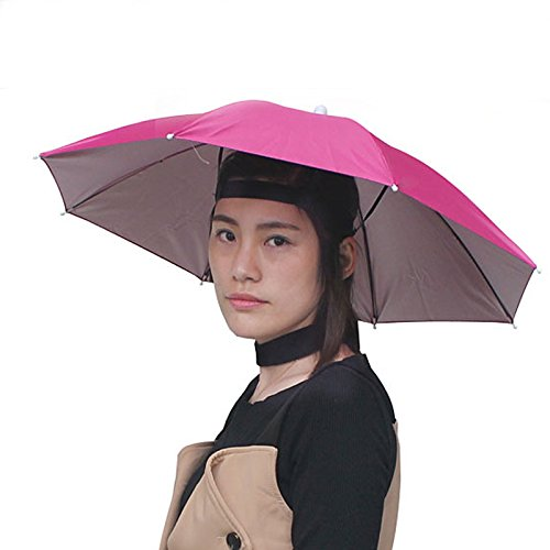 Accinouter Umbrella Hat, Folding Headwear 26 Hands Free Sunshade Double Layer Protection Parasol for Fishing Gardening Beach Camping Party (Rose, 14.2x26x26 (Open) 14.2x 2 (Fold))
