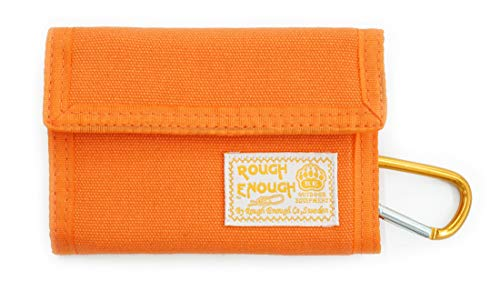 Rough Enough Canvas Vintage Orange Wallet Coin Purse Pouch Organizer Card Holder with Zipper Pocket and Credit Card slot for Women Teen Boy Girl Candy Fancy Travel